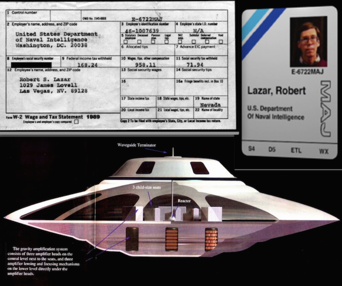 Classified Majestic badge, a W2 for his taxes showing his wadges from the base. and a half cut of the Sports Model saucer Lazar claims to have worked on for propulsion.