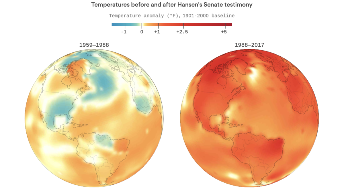 A graphical depiction of Earth's warming in recent years
