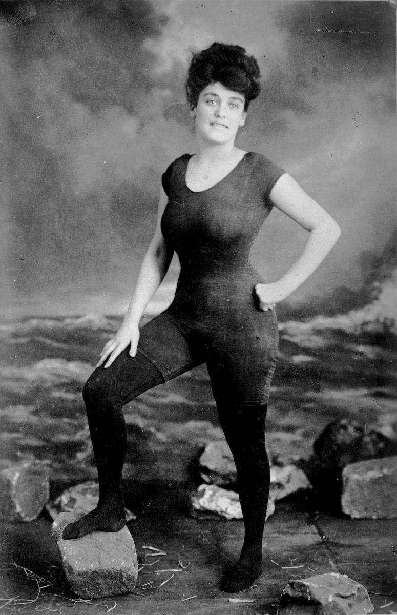 Annette Kellermann Australian swimmer in the early 1900s, wearing the bathing suit she had designed herself.