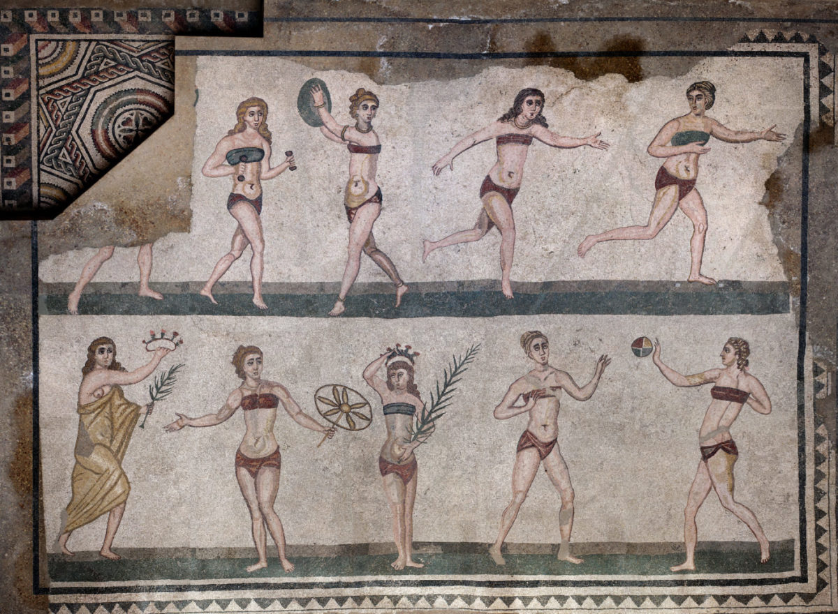 Our first record of the bikini is displayed in Villa Romana del Casale, in Sicily, in the form of mosaic on the floor.