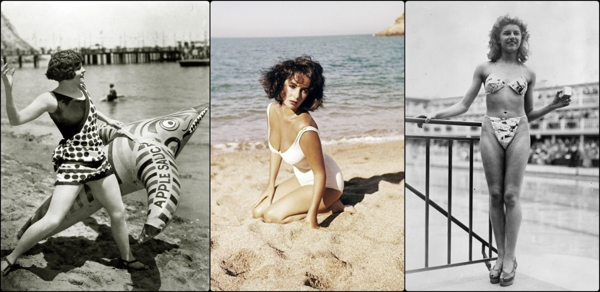 Vera Reynolds in 1924, wearing a considerably moderate one-piece; Elizabeth Taylor on the beach in 1959; and the French dancer, Michelin Bernardini,  who became famous for being the first one to advertise the bikini in 1946 designed by Louis Réard.