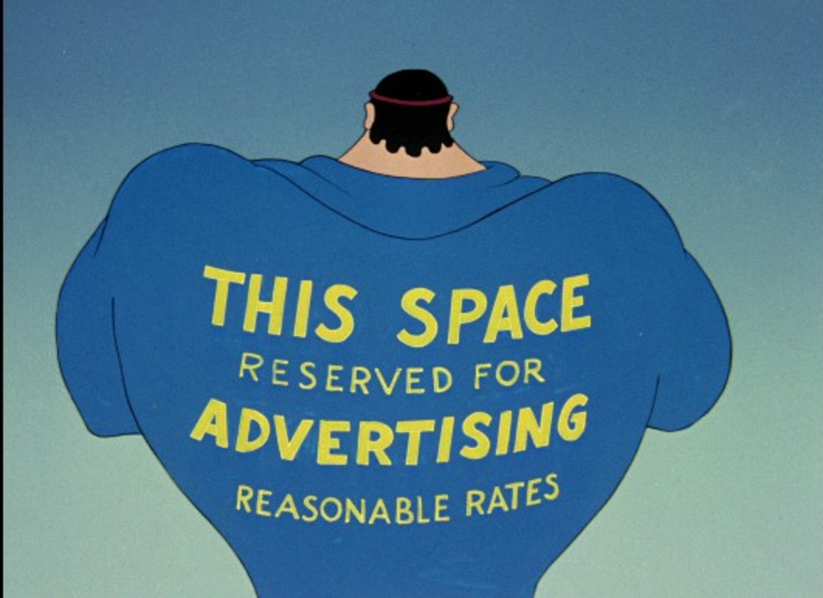 Bluto as Hercules looking for advertisers