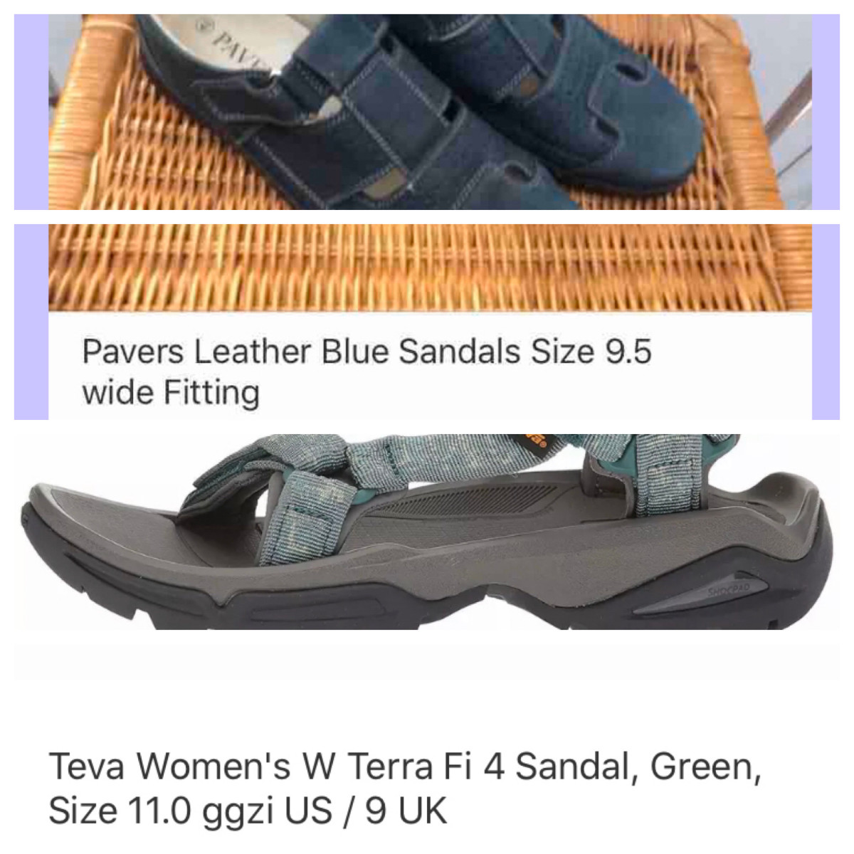 There are many kinds of sandals and this compromised image shows two contrasting types from comfortable summer shoes to trainer sandals