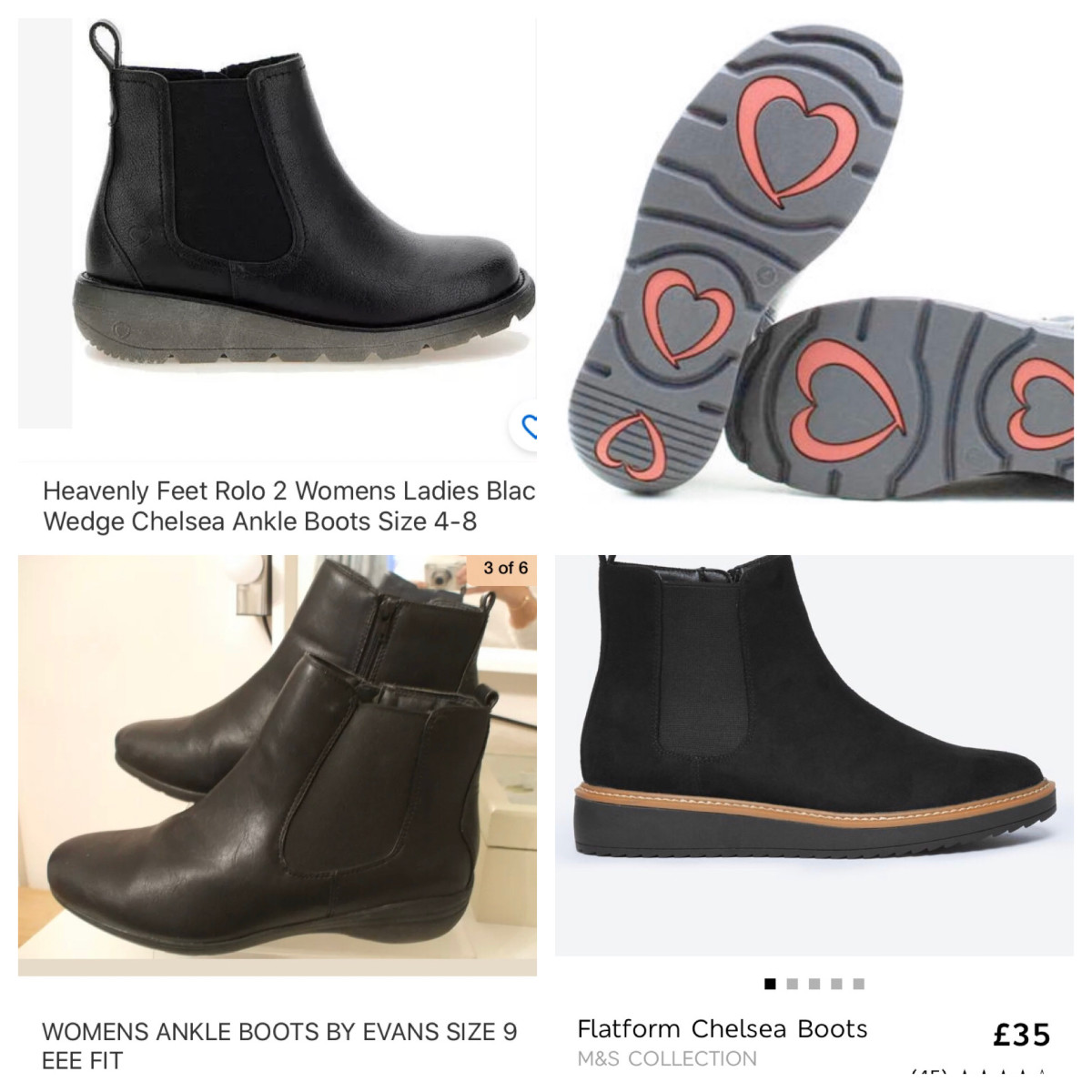 Boots featured in the article, Heavenly feet and Evans wide fit boots that go up to size 9 (US 11, EU 43)