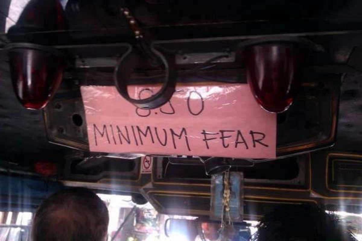I'm afraid to pay the minimum fare in this jeepney. (Note: A jeepney is a public utility vehicle in the Philippines.)