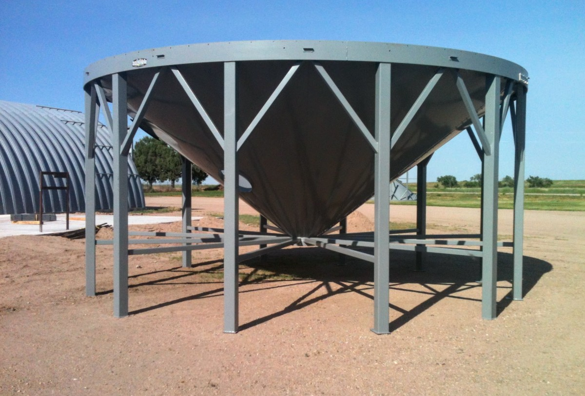 This hopper is built and waiting until its corresponding bin is completed.