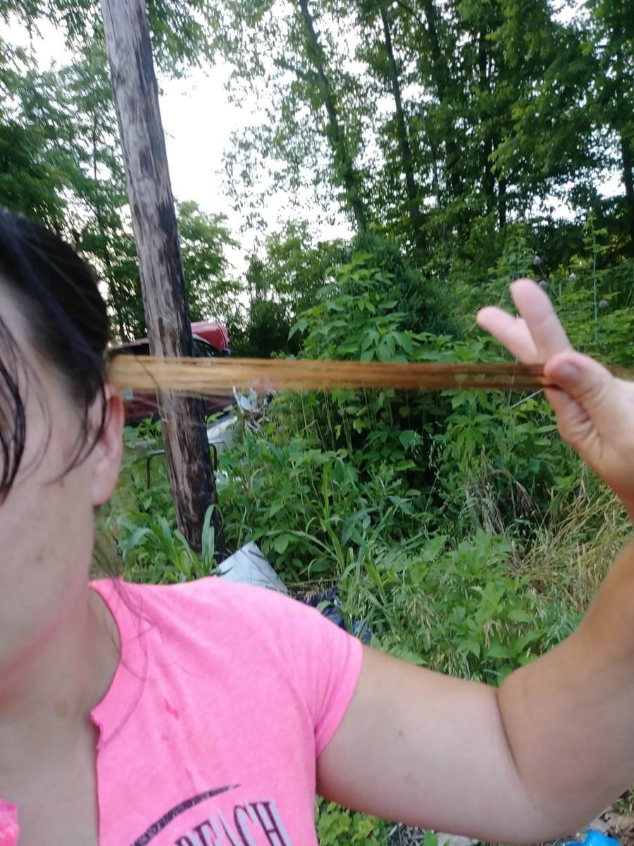 Test Strip Joico Color Eraser Black Hair Natural Light
