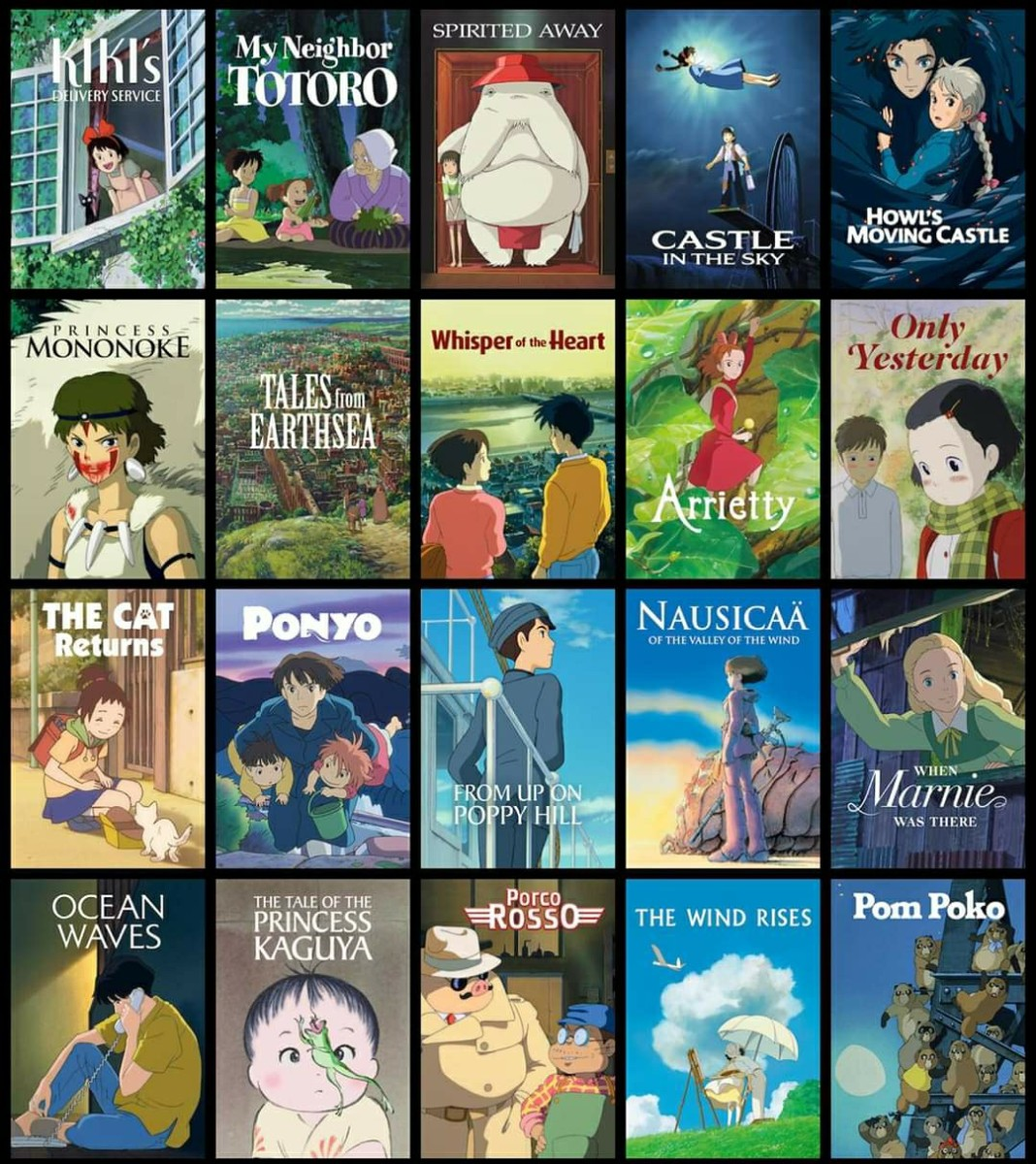"""The 21 Studio Ghibli films available for streaming on Netflix (with """"My Neighbors the Yamadas"""" cropped from the photo)"""