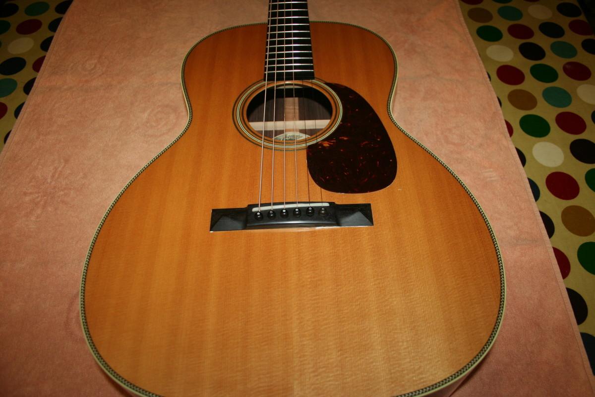 Bridge on an acoustic guitar