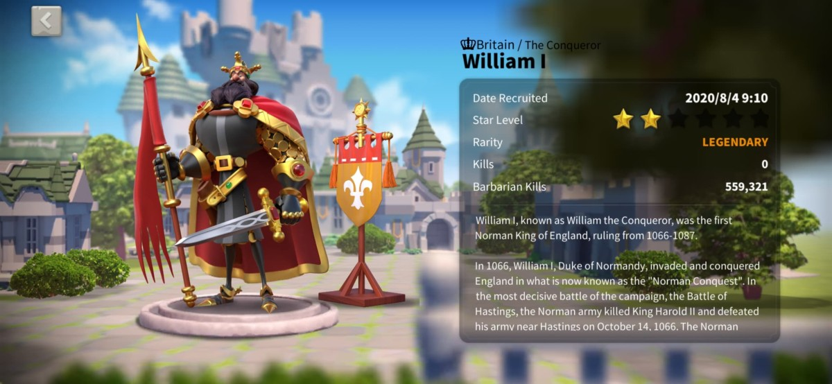 "William I Profile Page in ""Rise of Kingdoms"""