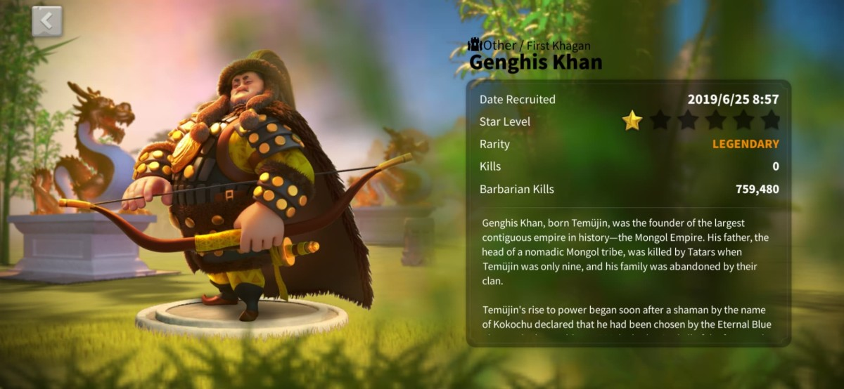 "Genghis Khan Profile Page in ""Rise of Kingdoms"""