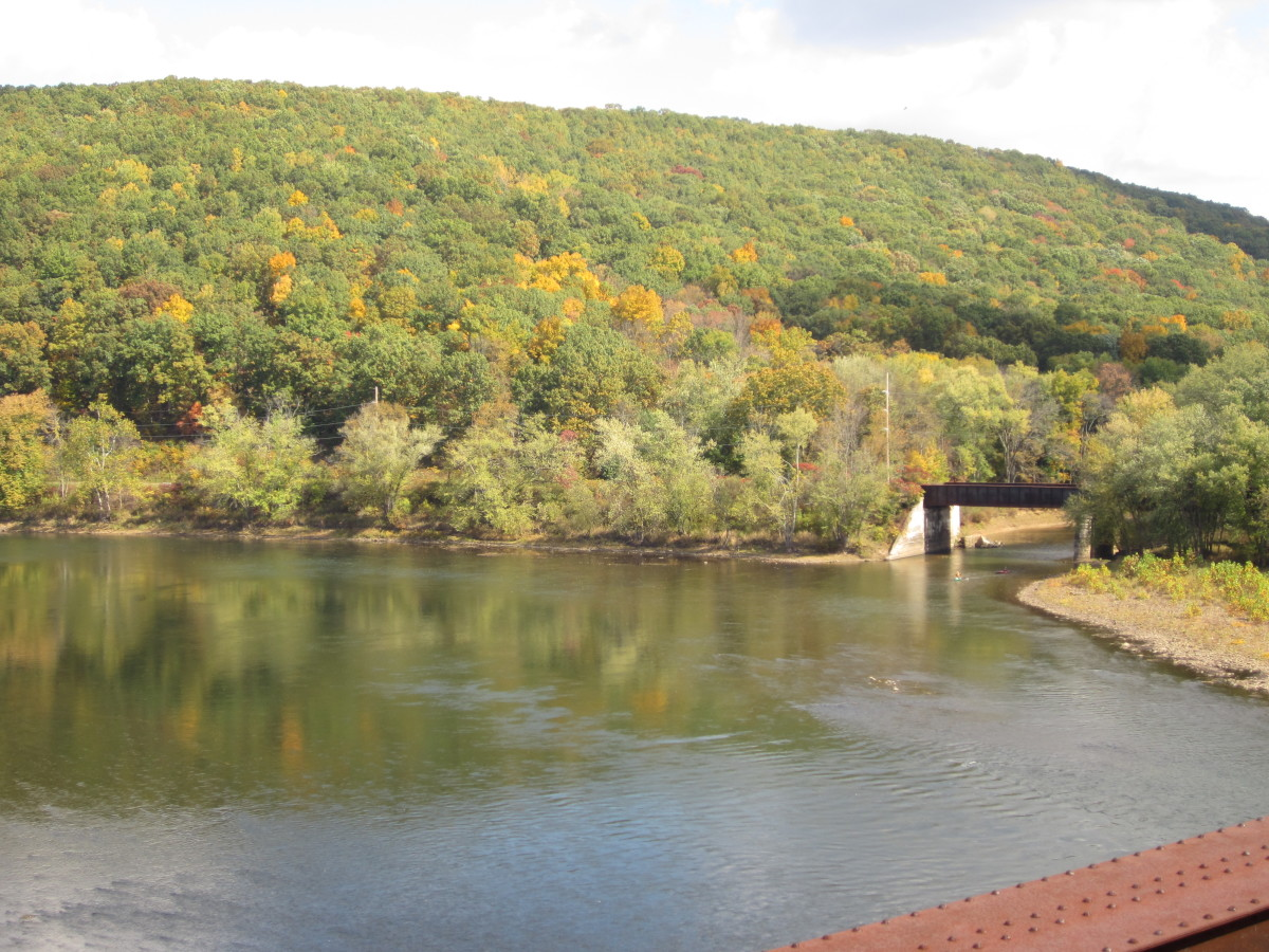 View from the Belmar Bridge of Sandy Creek entering the Allegheny River