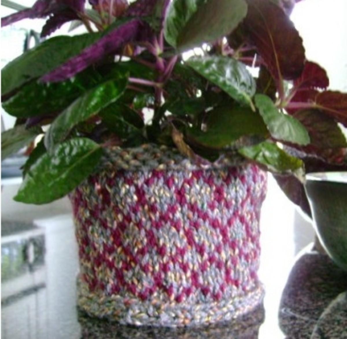 Knitted Pinwheel Basket
