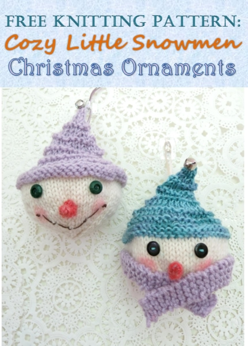 Free knitting pattern for Cozy Snowmen Christmas Ornaments
