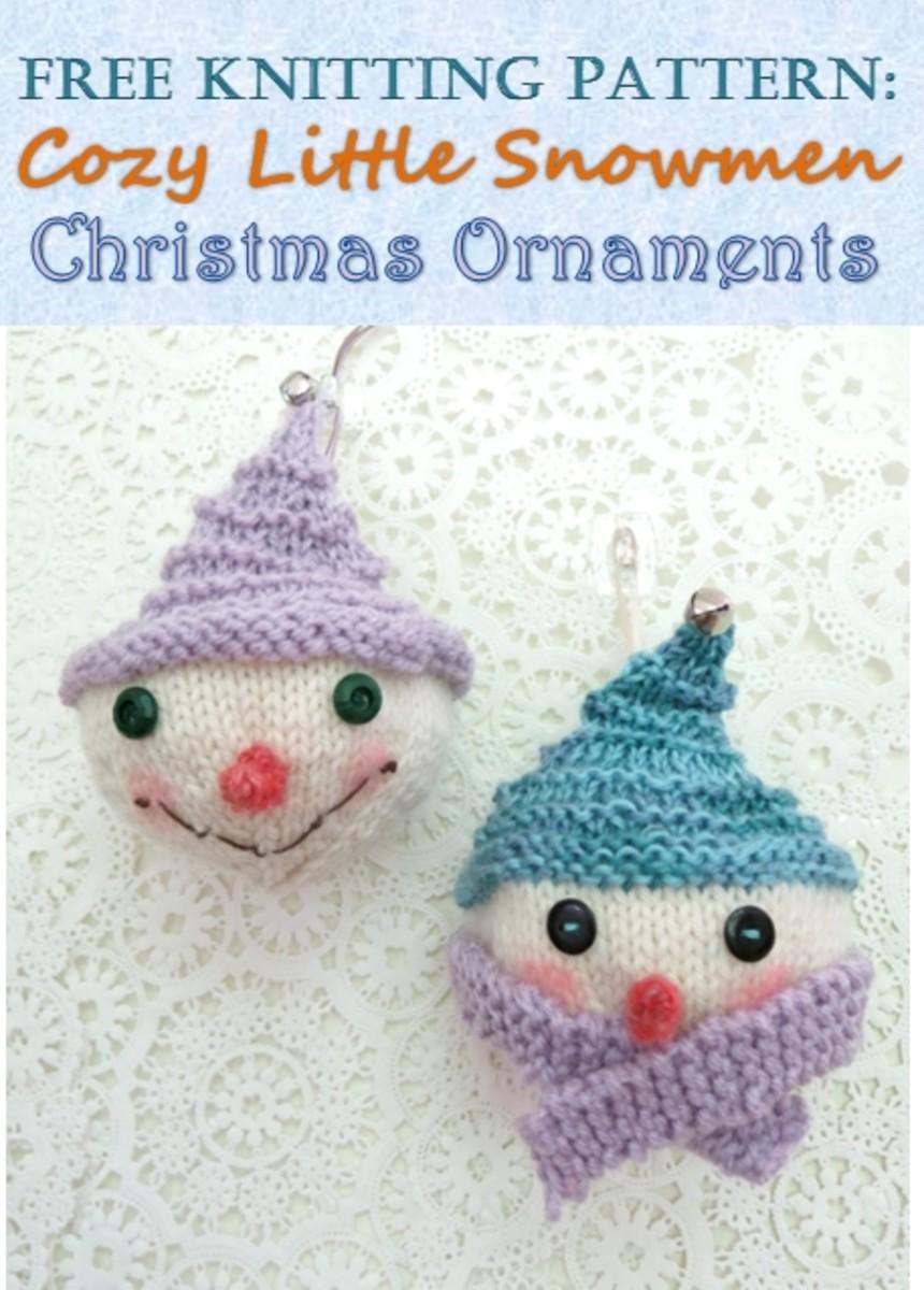 Free knitting pattern for Cozy Snowmen Christmas Ornaments