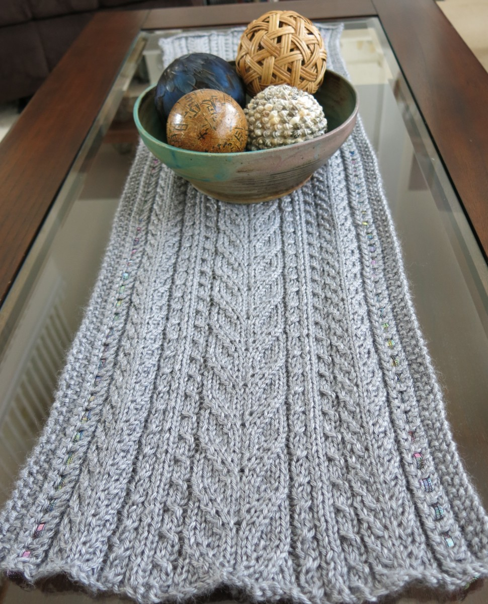 Knitting Pattern for the Lace & Cables Table Runner