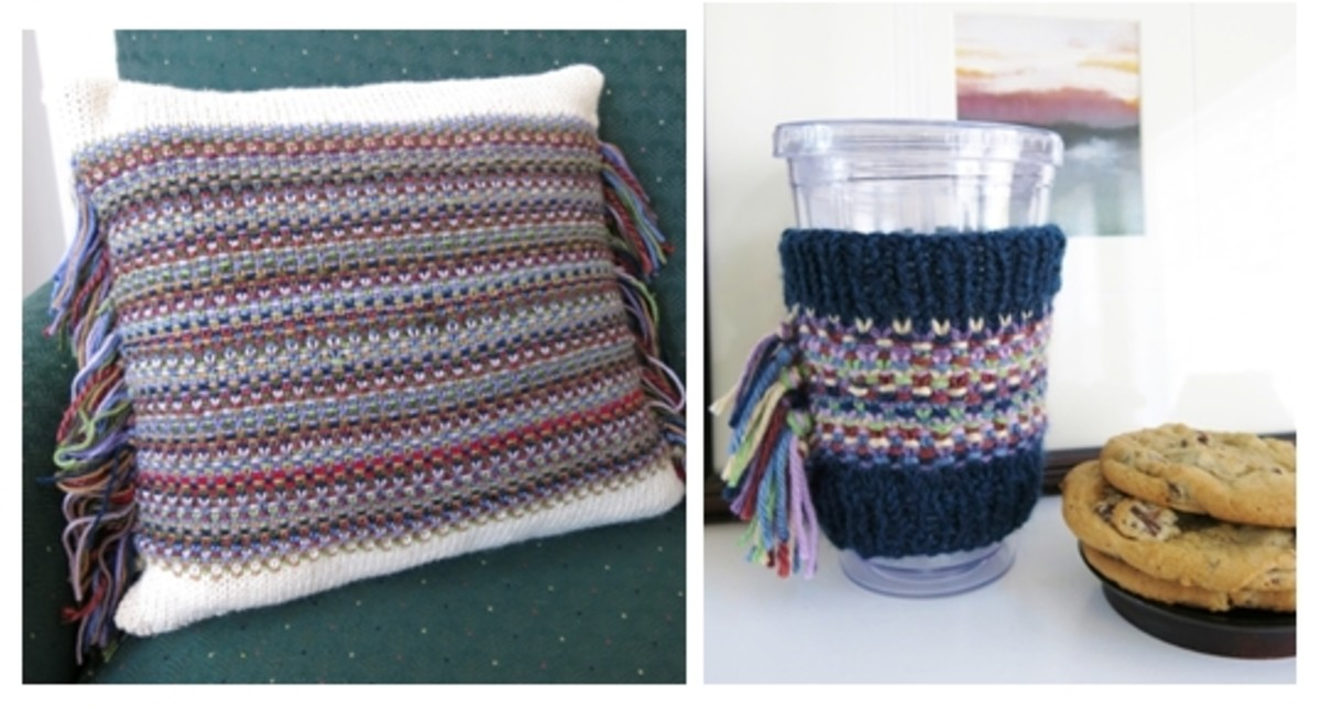 Pattern for Confetti Fringe Pillow or Cup Cozy