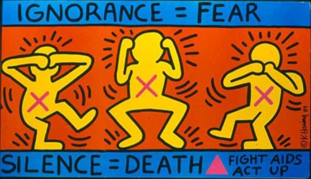 "The artwork shown above is ""Ignorance = Fear"" by Keith Haring, an example of Definitive Expression sociopolitical art."