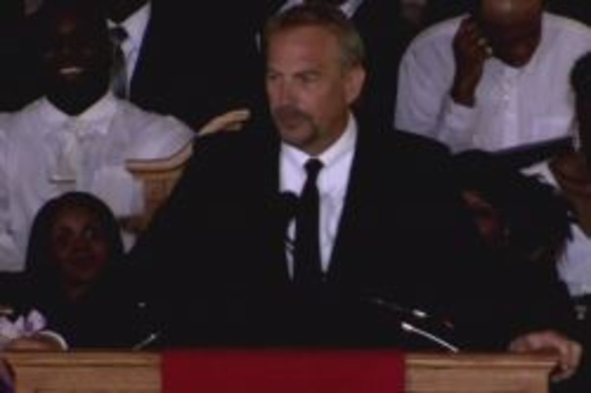 Kevin Costner, who starred with Whitney Houston in The Bodyguard, pays tribute to the pop icon at her funeral in New Jersey.