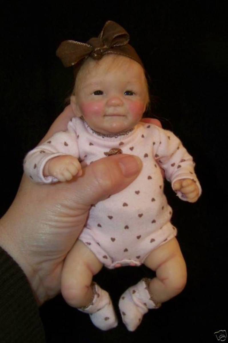 OOAK MINI BABY POSEABLE DOLL HAND SCULPTED BY Cheryl Hill