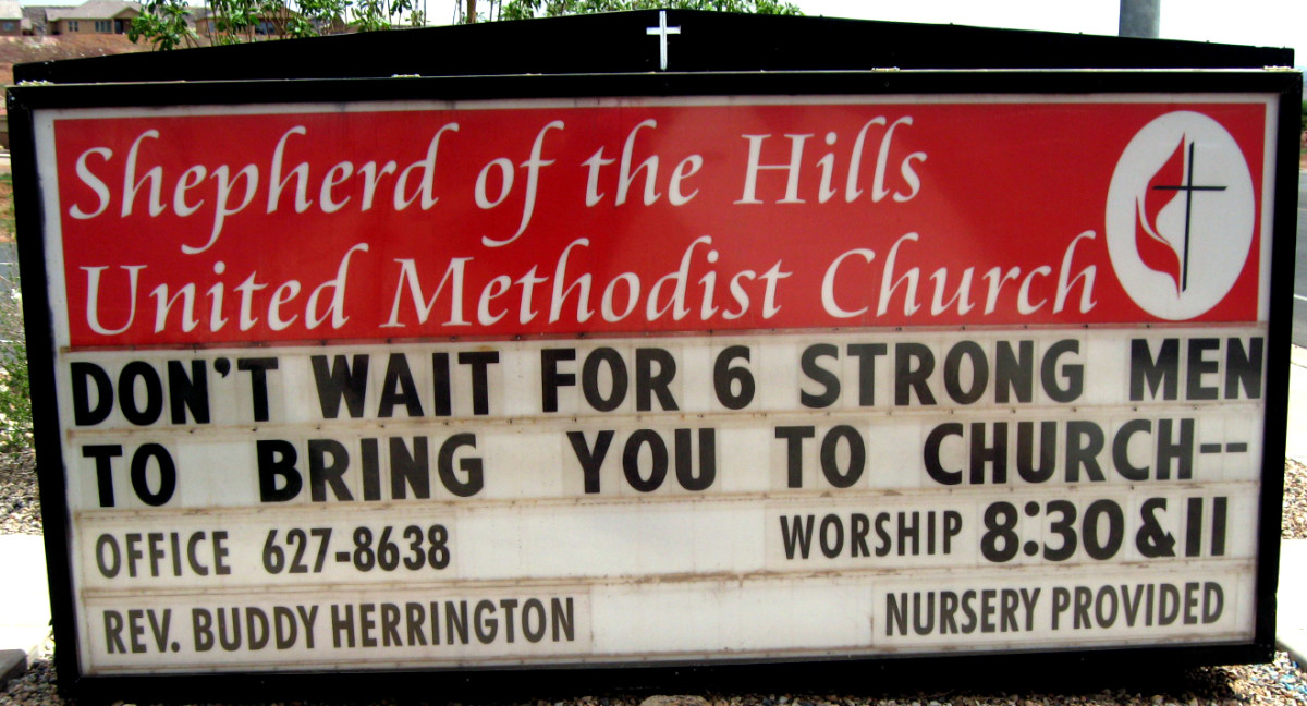 A church in St. George, Utah that has a pretty good stock of funny church signs.