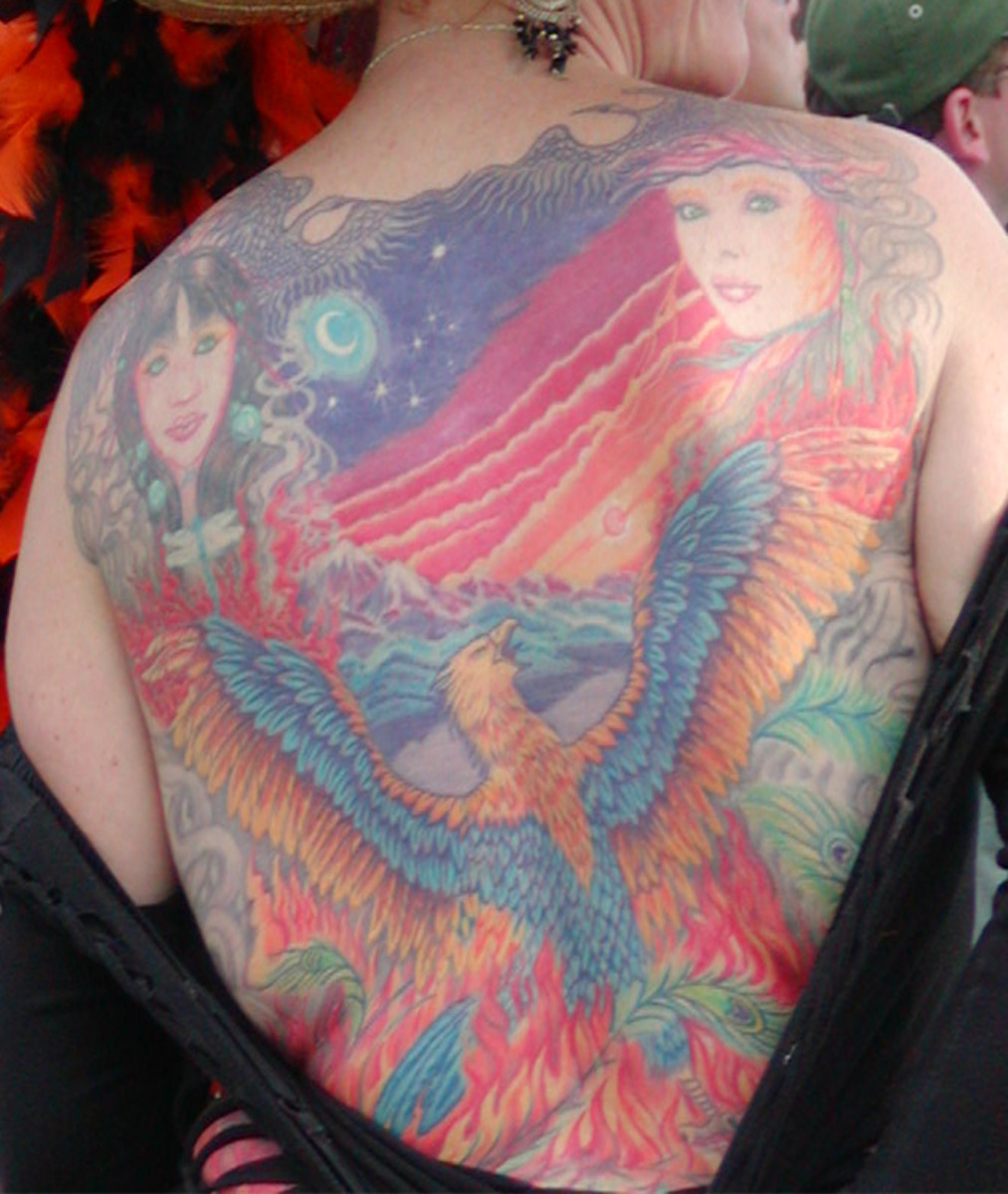 Lady back tattoo, public domain
