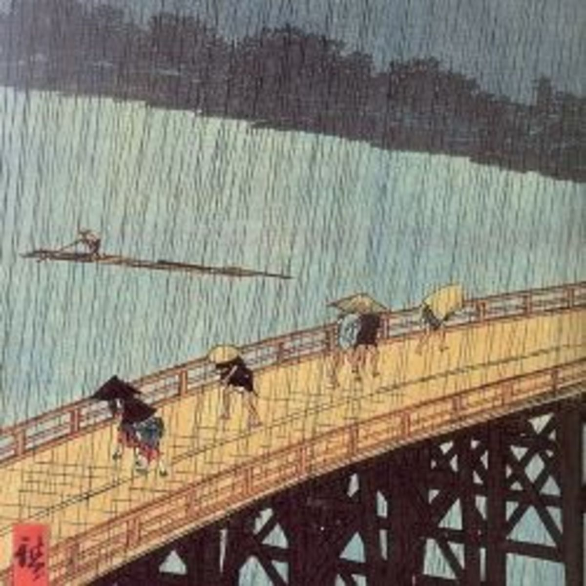 Evening Shower at Atake and the Great Bridge from the serie One Hundred Famous Views of Edo by Utagawa Hiroshige [Public domain]