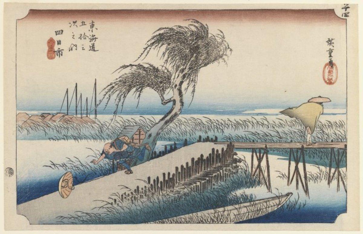 Yokkaichi, San Cho Kwa, Station 44  Wood block color print by Hiroshige