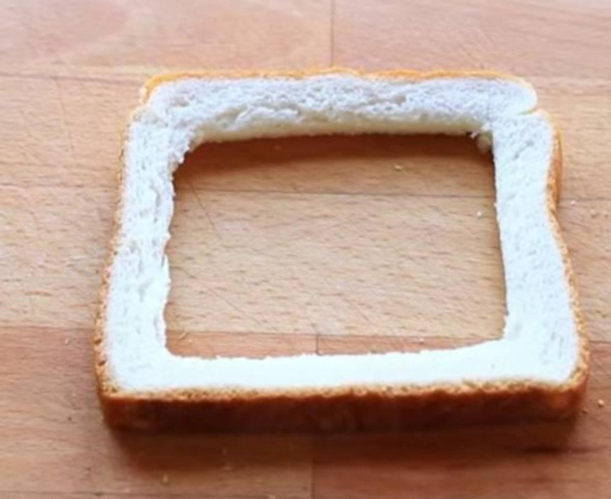 Piece of bread cut into required shape
