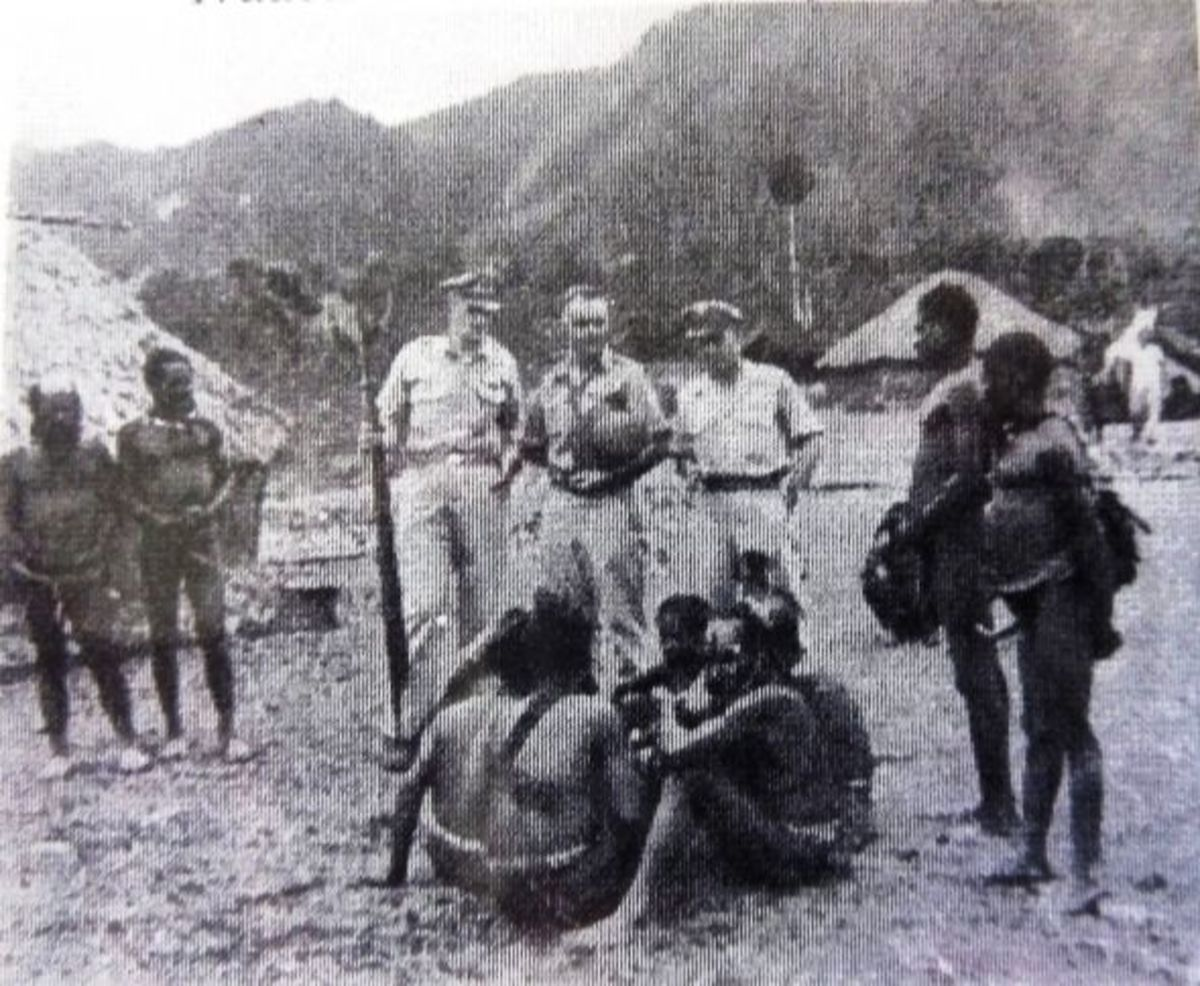 Natives meeting with servicemen during World War II
