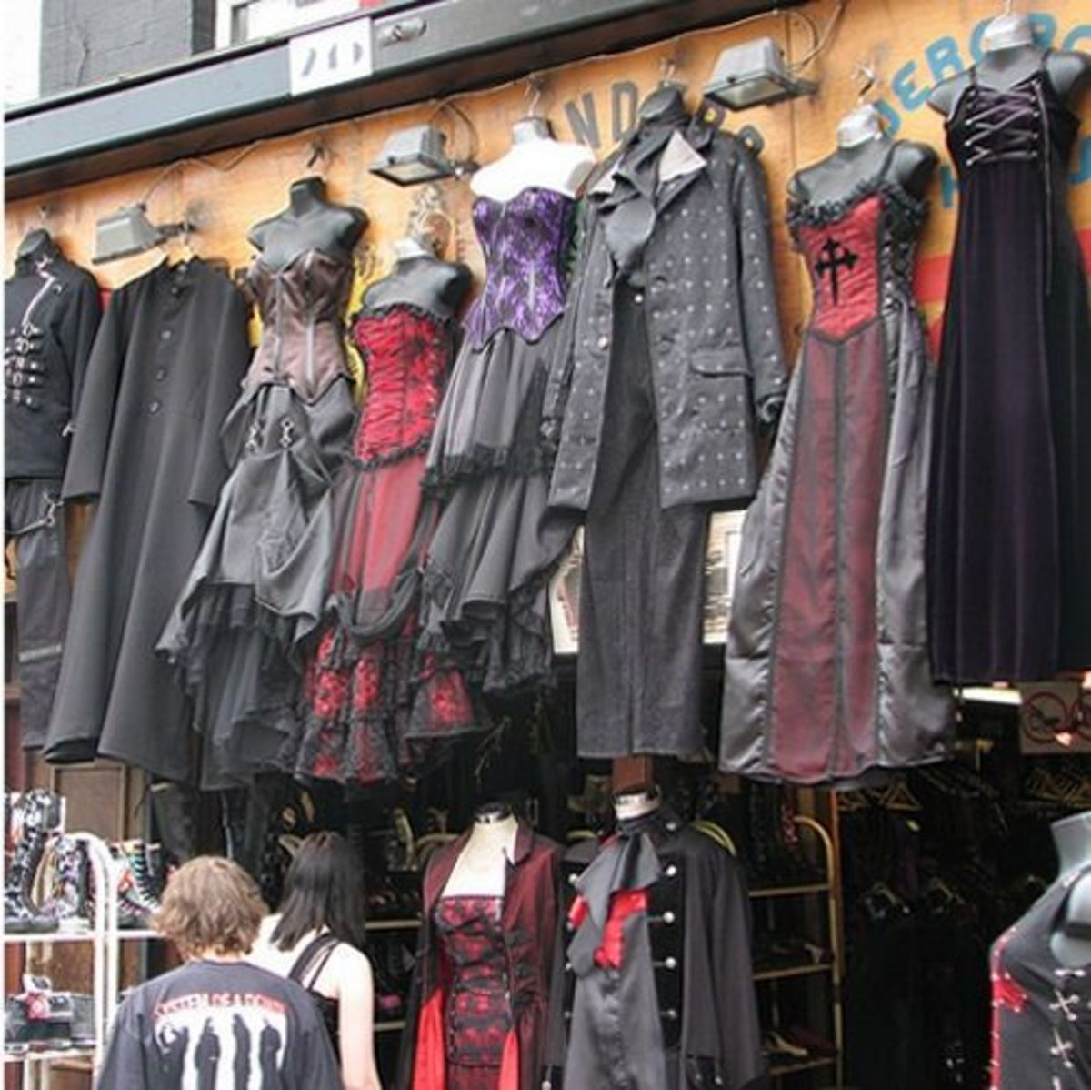 Gothic clothes stall in Camden Market, London