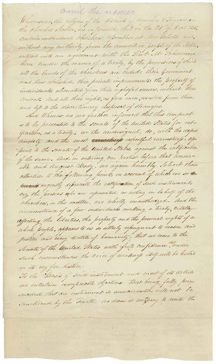 This image is of the written petition from the Cherokee Council opposing the Treaty of New Echota