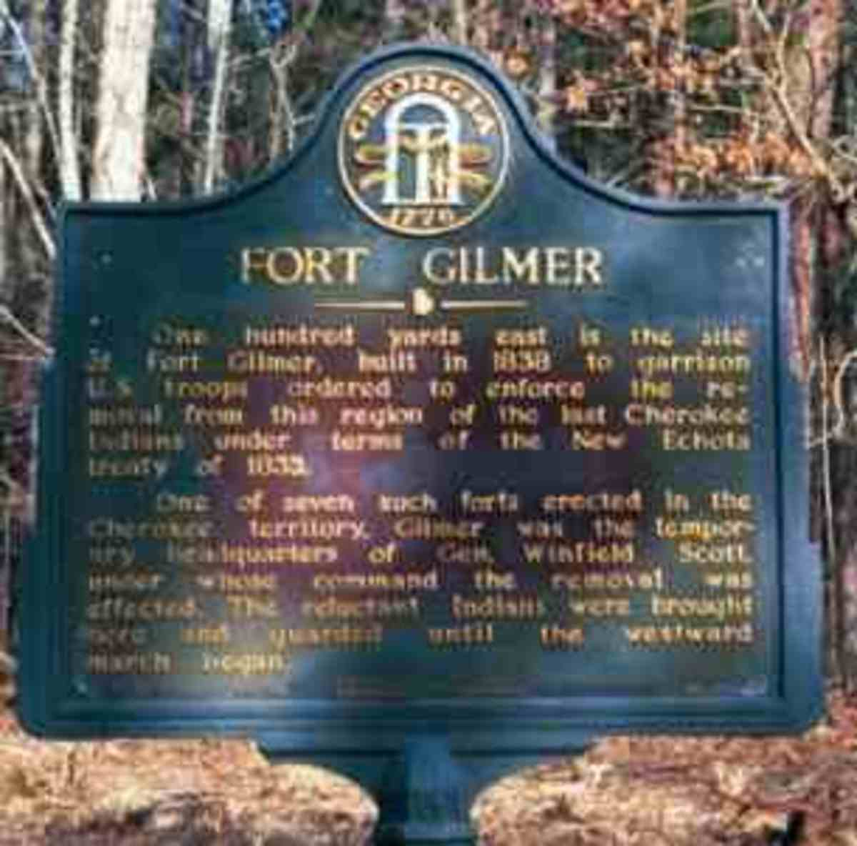 One hundred yards east is the site of Fort Gilmer, built in 1838 to garrison U.S. troops ordered to enforce the removal from this region of the last Cherokee Indians under terms of the New Echota treaty of 1835.