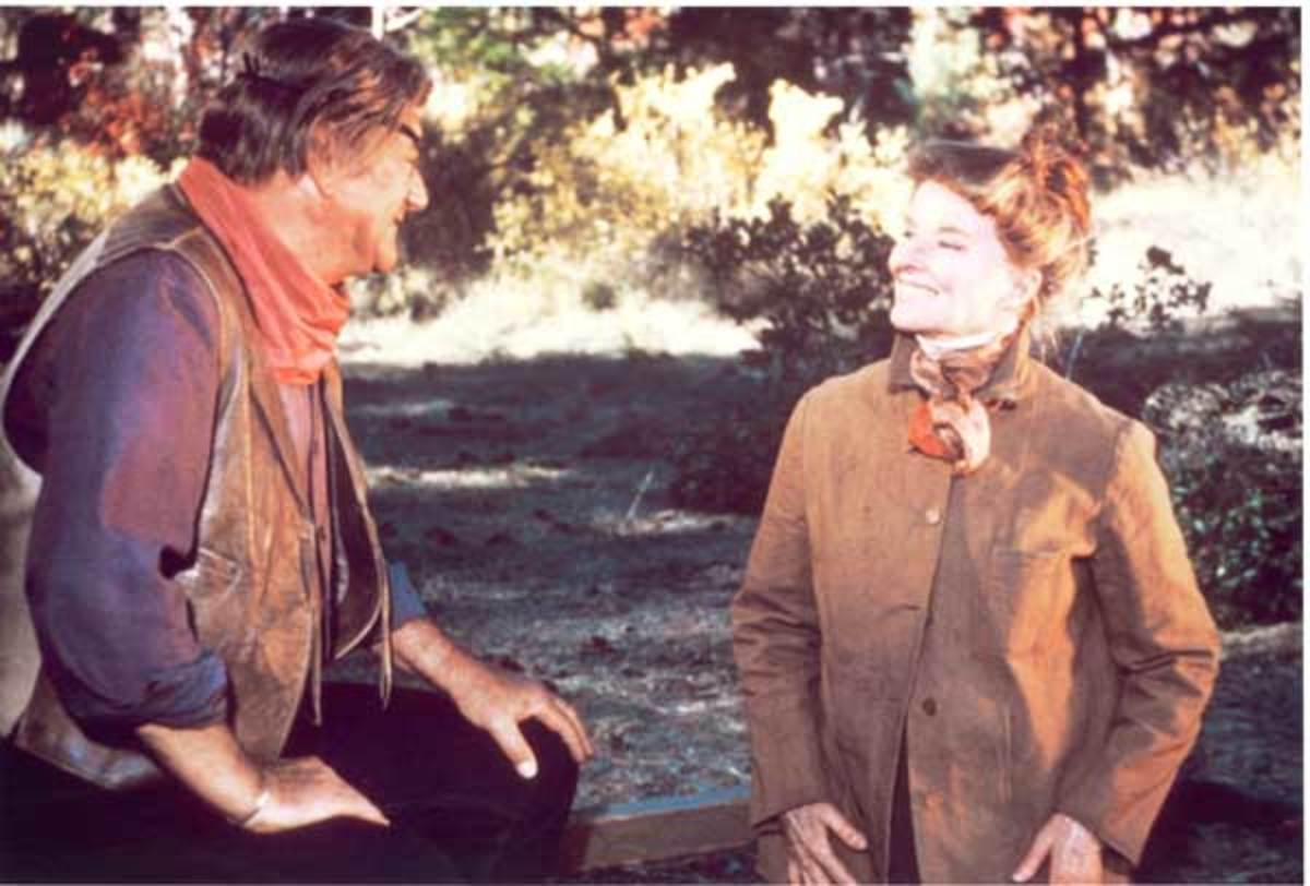 John Wayne and Katharine Hepburn in Rooster Cogburn