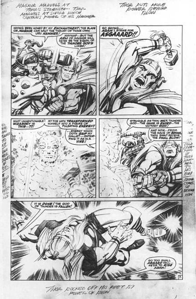 Jack Kirby's Thor page pencils.