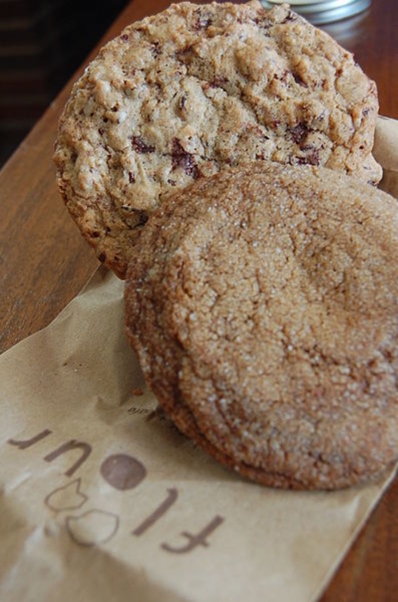 I got a ginger molasses cookie (my favourite of theirs) and a Chunky Lola (chocolate chip with pecans). Yum!