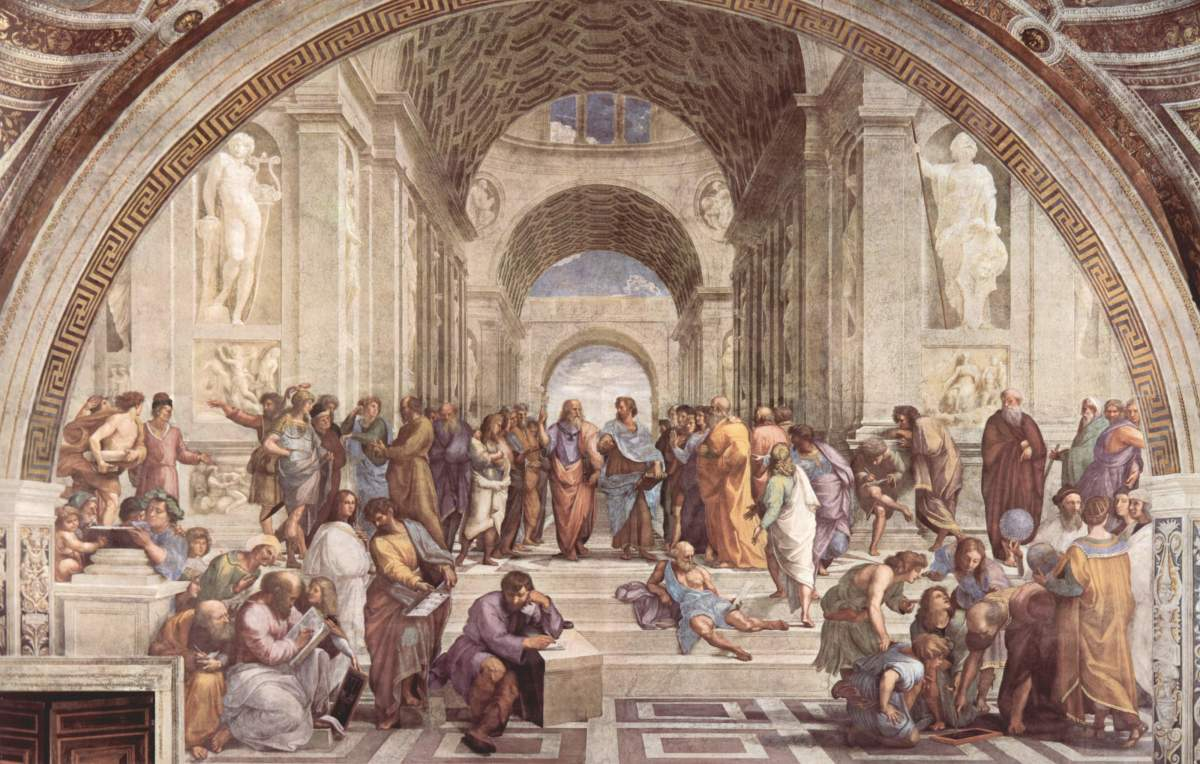 The fresco School of Athens was painted in the Papal apartments of the Vatican by Raphael. Aristotle, who stands right of center, is leading, with Plato on his left, all of the ancient philosophers of Greece.