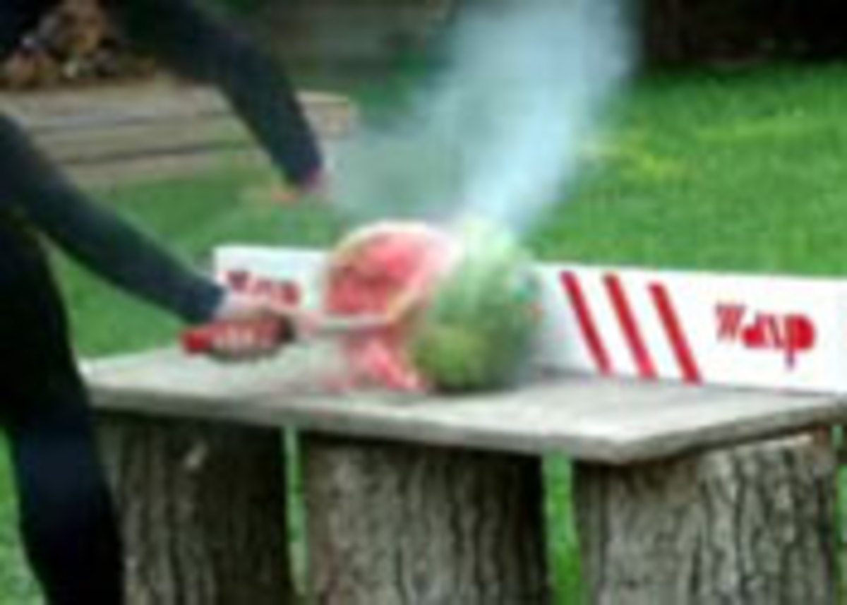 In a demonstration, the Wasp Knife explodes a watermelon.