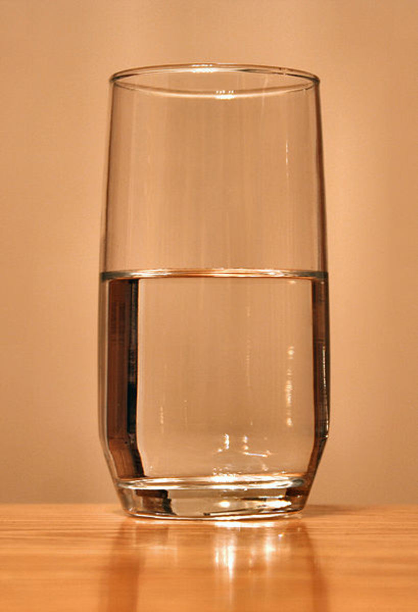 A glass of water, demonstrating the eternal conundrum of whether the glass is half full or half empty.