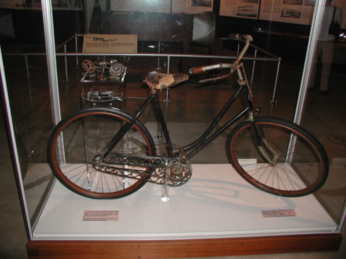 A Wright Brothers bicycle displayed at the National Museum of the United States Air Force at WPAFB, Dayton OH.