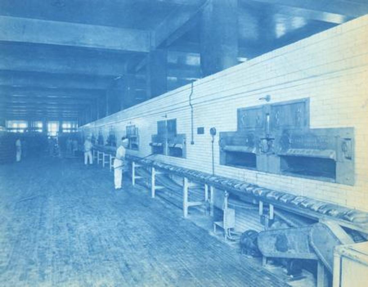 Conveyors for a bakery operation; 1920. Jeffrey Manufacturing at one time made bicycles.