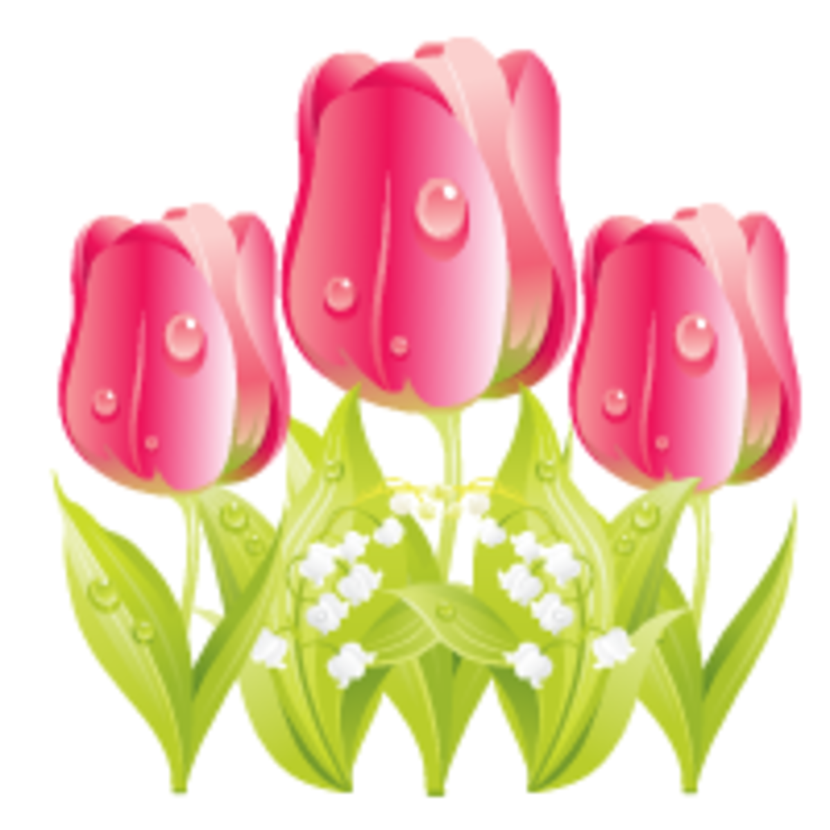 Three pink tulips free flower clipart (small)