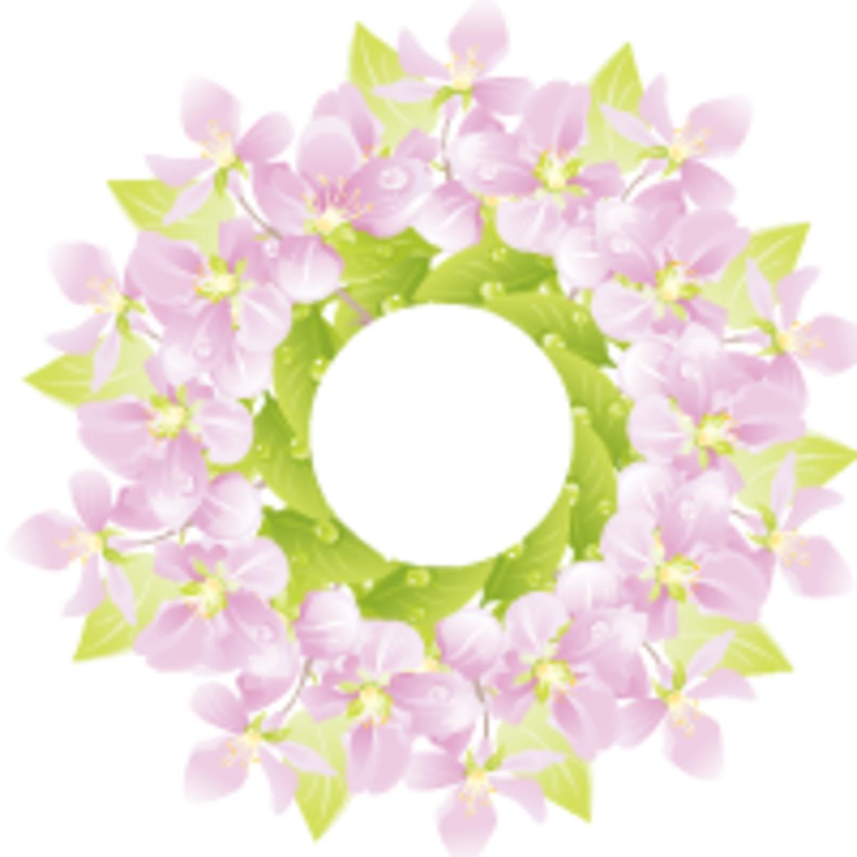Purple flower wreath free flower clip art (small)