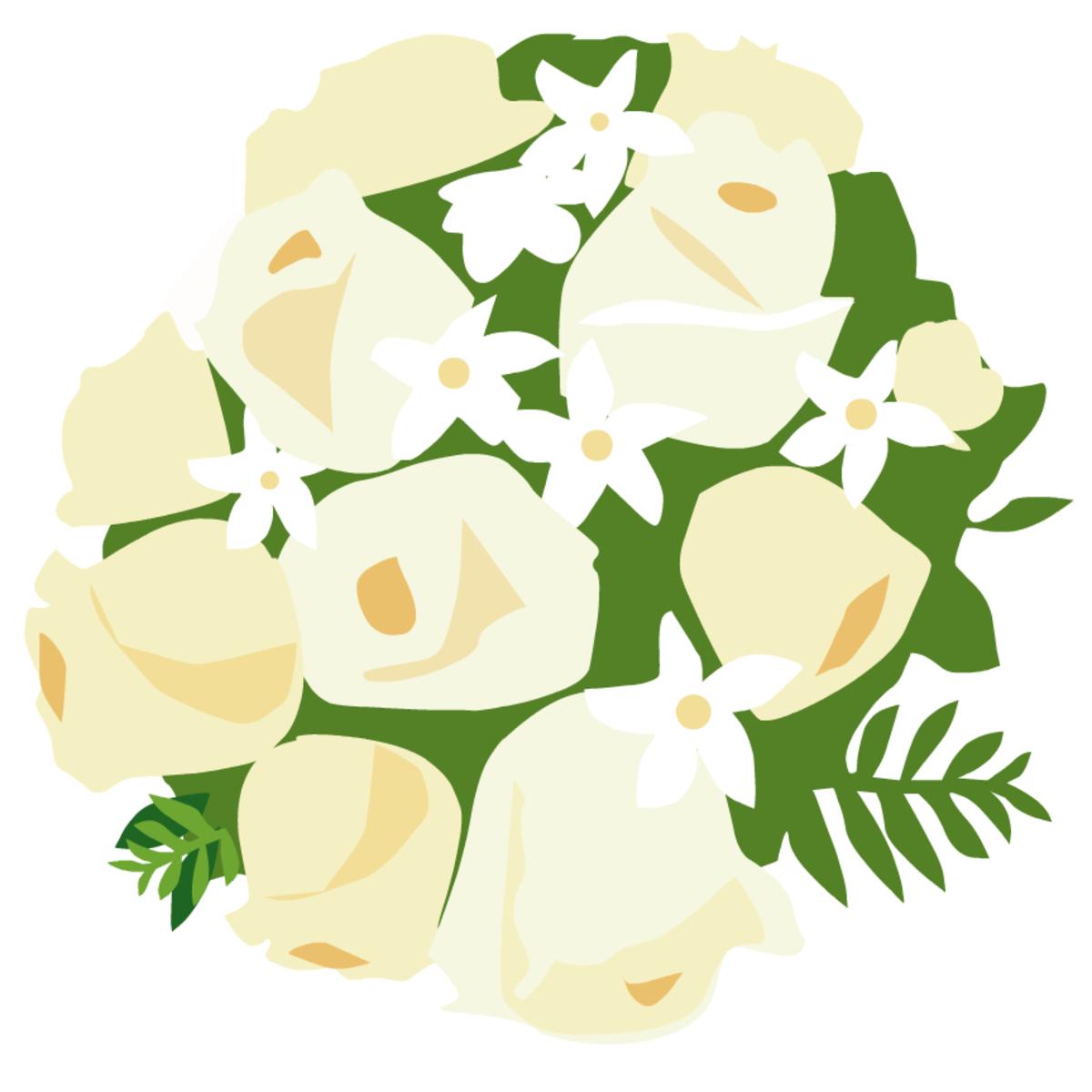 free bride's bouquet of roses clip art