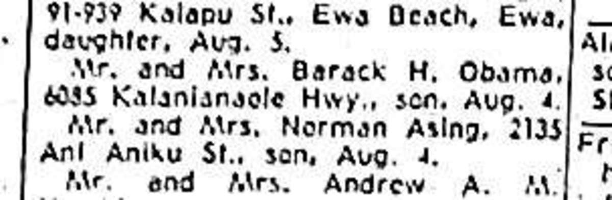 This is a copy of the newspaper announcement published when Barack Obama was born in Honolulu
