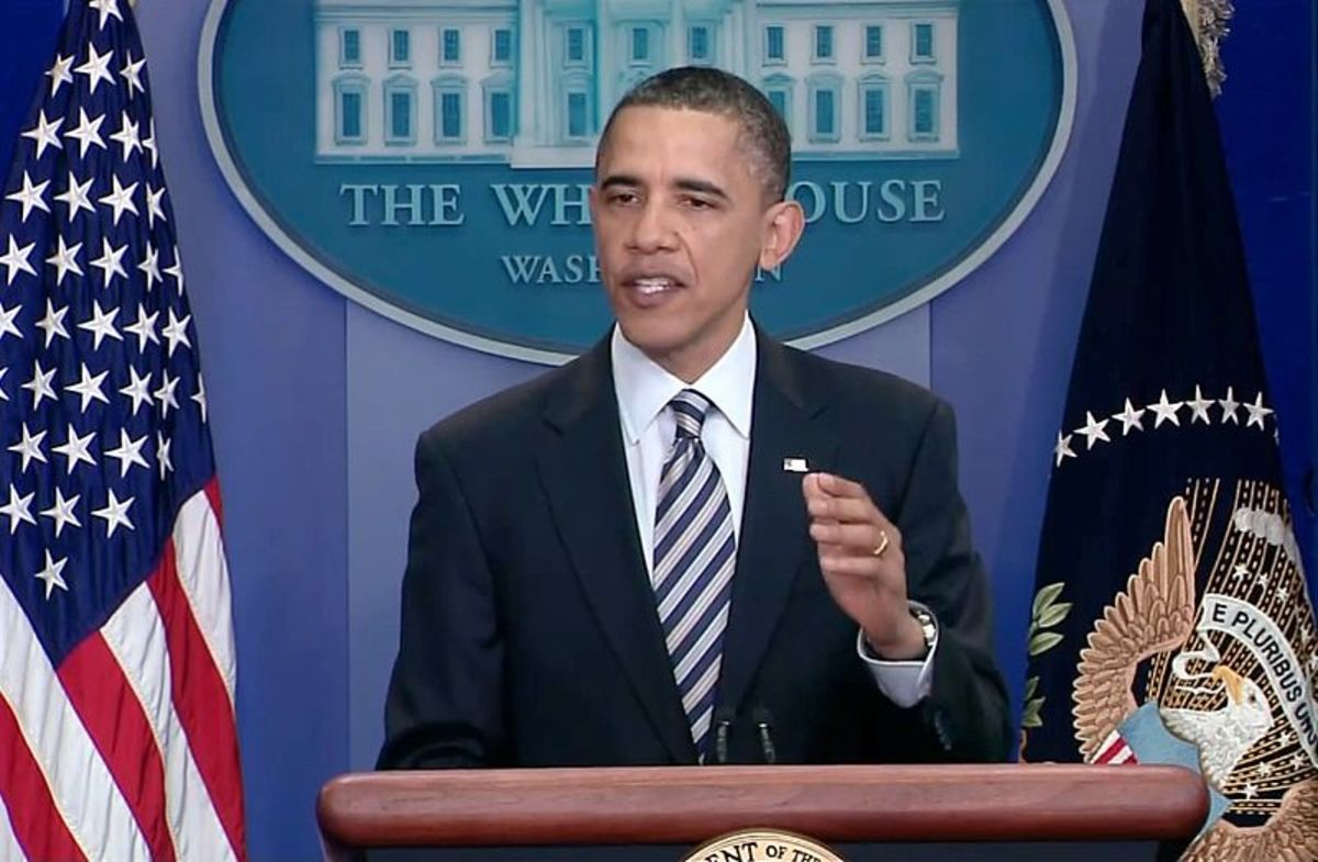 27 April 2011: U.S. President Barack Obama speaks to the press the same day the White House released the long form of his birth certificate to dispel conspiracy theories surrounding his place of birth.