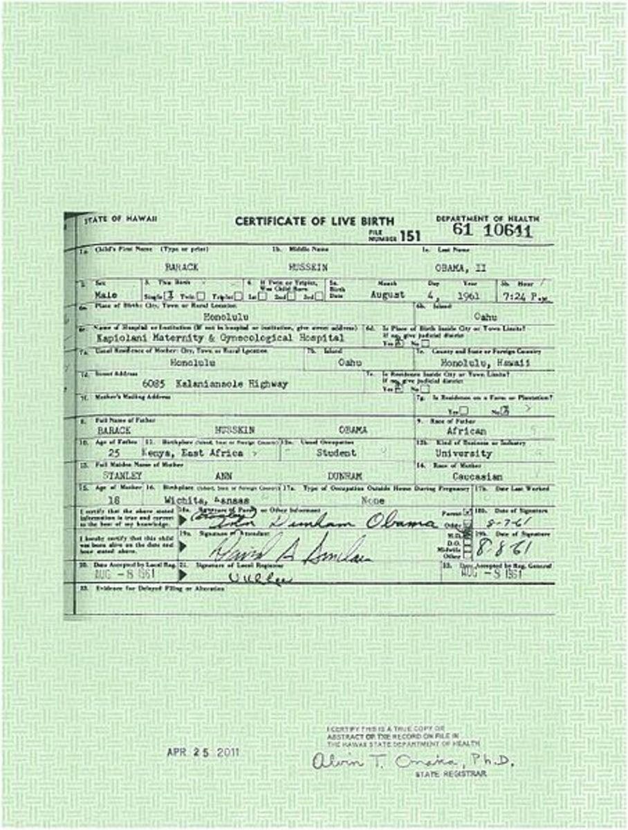 This is the long form birth certificate showing that the 44th President of the United States, Barack Obama, was born at 7:24 pm, on August 4, 1961, in Honolulu, Hawaii, United States.