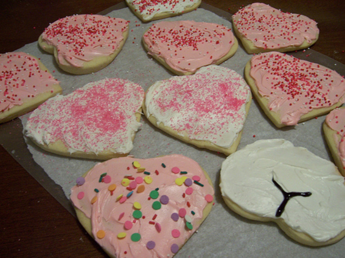 A comparison shot of edible hearts and hineys