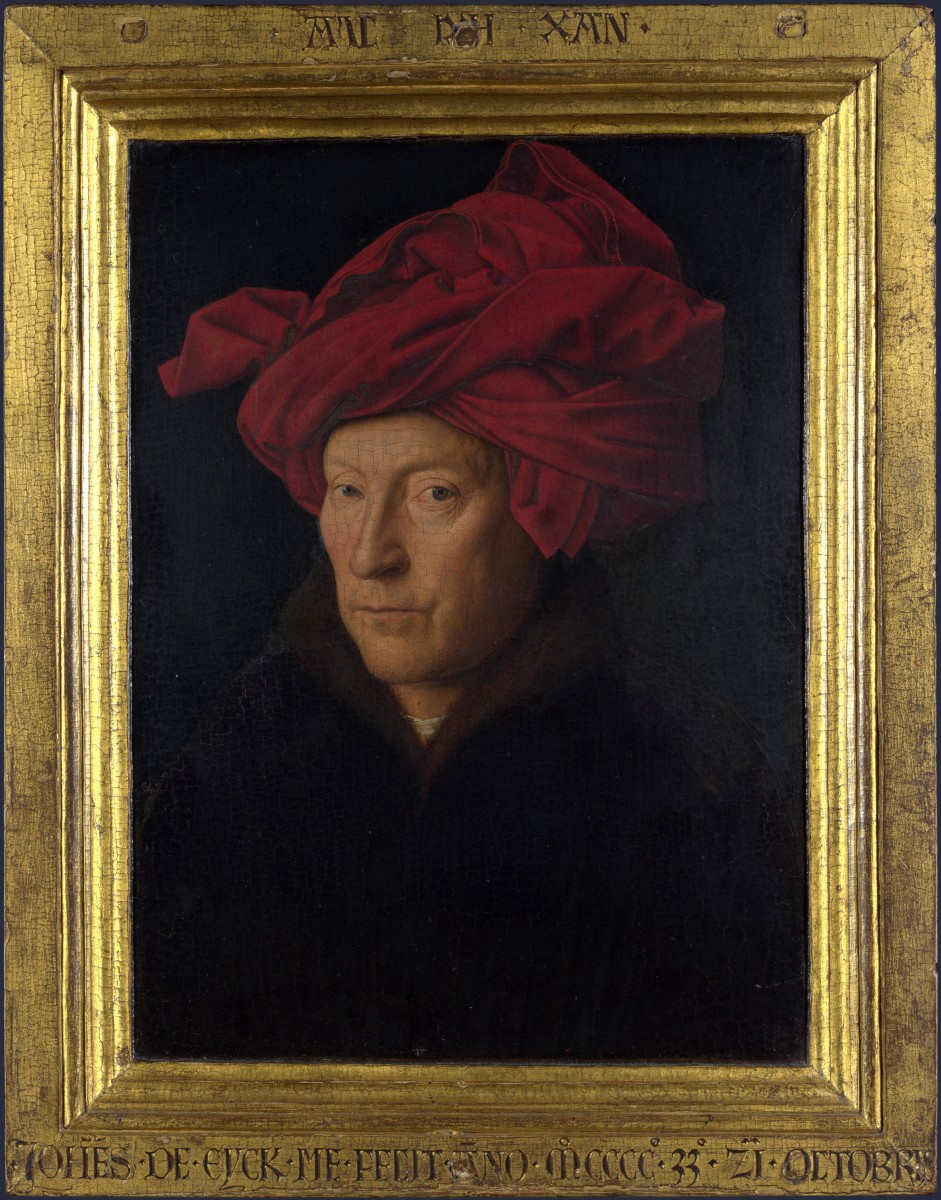 The picture is believed to be a self-portrait of Jan van Eyck. You can see it in the National Gallery in London - it's actually a lot smaller than you might think.