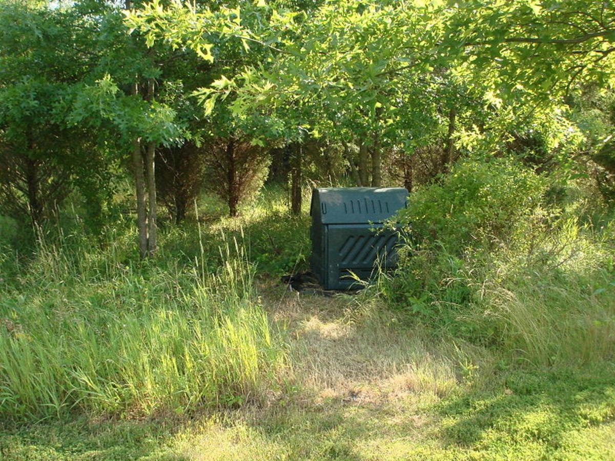 A modern compost bin constructed from plastics